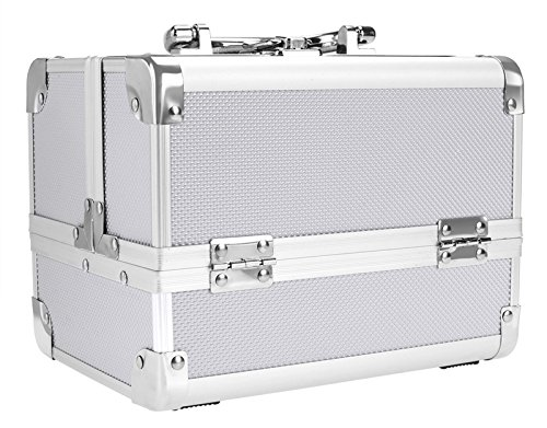 Makeup Train Case, Pro Aluminum Cosmetic Organizer Box with Adjustable Dividers, Mirror and Lock for Home and Travel US Stock