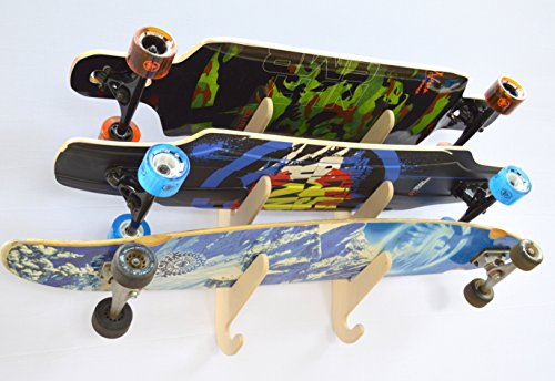 (Longboard Skateboard Hanging Wall Rack -- Holds 3 Boards)