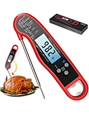 Digital Instant Read Meat Thermometer, Waterproof Ultra Fast Food Thermometer with Backlight and Calibration, Kitchen Cooking Thermometer Probe for Grilling Oven Smoker BBQ, Red