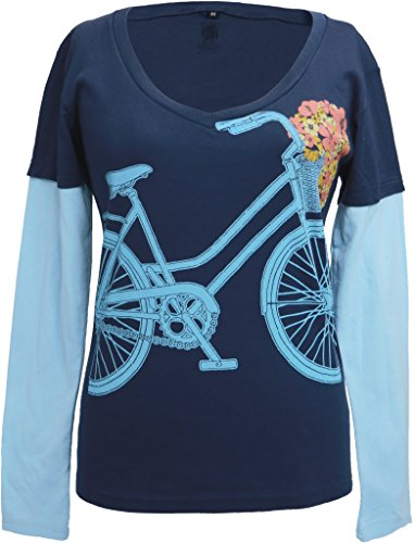 - Green 3 Women's Floral Bike Double-up Organic Made in USA tee XLarge Navy/Water