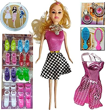 5f9d3d5f9a8ae Buy Vedy Kids Plastic Barbie Girl Doll Series with Dresses Set ...