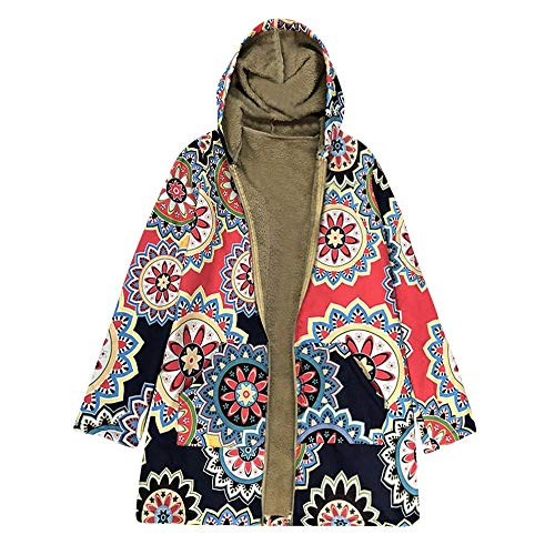 Sale Womens Hooded Coat FEDULK Winter Warm Floral Print Vintage Parka Oversized Outwear Thick Jacket(Red, US Size L = Tag XL) by FEDULK