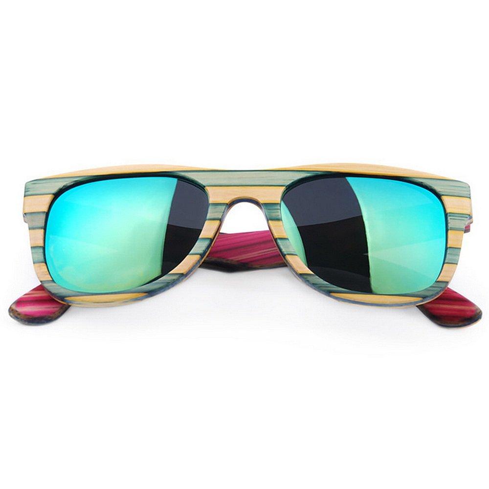 Polarized Sunglasses Cute Women's color Strips Wood Sunglasses Handmade Polarized Sunglasses Lens Eyewear UV Predection Driving Sunglasses Beach Sunglasses for Women 100% UV Predection