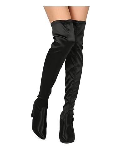 848594e5fa8 Women Block Heel Boot - Over The Knee Chunky Heel Boot - Thigh High HeeHE25  by