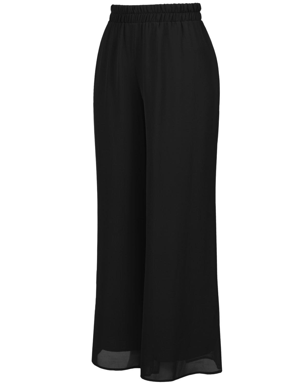 J. LOVNY Women's Casual Wide Leg Palazzo/Chiffon Pants Plus Size 1X-3X
