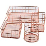 Your only family Practical Nordic Style Storage Basket Rose Gold Iron Storage Basket ins Desktop Finishing Fruit Storage Basket Durable (Size : M)