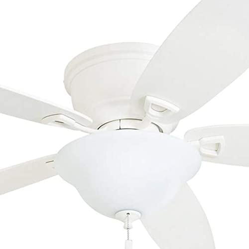 Honeywell Ceiling Fans 50518-01 Quick-2-Hang Hugger Ceiling Fan 52 Dimmable LED Cased Fixture