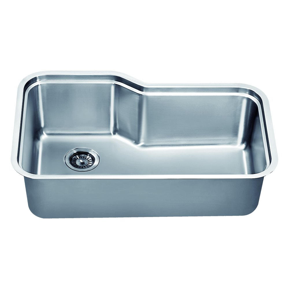 Dawn DSU3118 Undermount Single Bowl Sink with Side Drain, Polished ...
