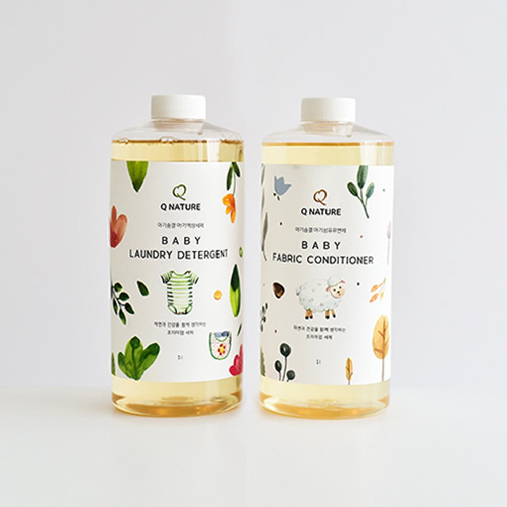 Q Nature Premium Natural Baby Laundry Set (Laundry Detergent + Fabric conditioner), Eco-friendly plant fermentation detergent