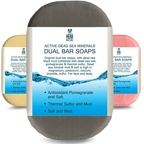 DEAD SEA Salt/Mud SOAP, Antioxidant pomegranate/salt, Thermal sulfur/mud - Dual sided bar soaps for restorative, gentle cleansing and Moisturizing - therapeutic -3 PK/3.2 Ounc