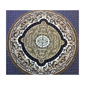 Traditional Round Area Rug 4 Ft. X 4 Ft. Beige Design #101