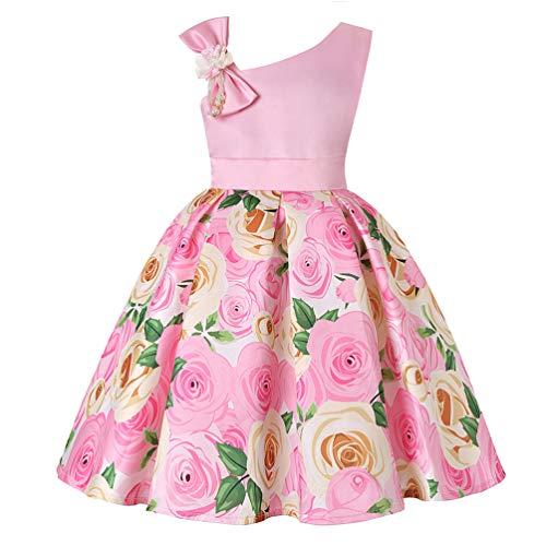 3 4T Print Roses Flowers Floral Summer Easter Christmas Little Girl Baby Dress Elegant Wedding Party Toddler Dress Pink