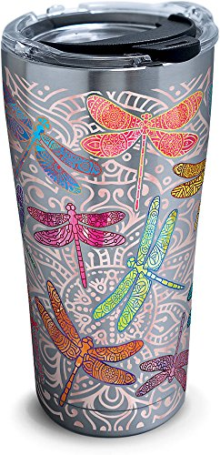 Tervis 1261344 Dragonfly Mandala Stainless Steel Tumbler with Clear and Black Hammer Lid 20oz, - Travel Dragonfly Mug