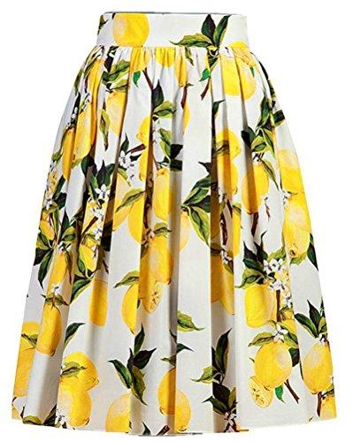 Floral Ruffle Skirt (Alaroo Women's Floral Yellow Lemon Parachute A Line Midi Skirt, Multi,)