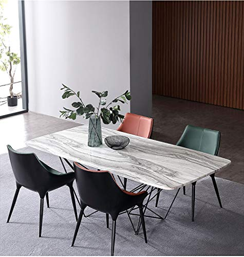 LGFSG Conjunto de Mesa Juego de Comedor de marmol Natural de Hierro con Mesa Rectangular y 6 sillas de Cuero, Gris