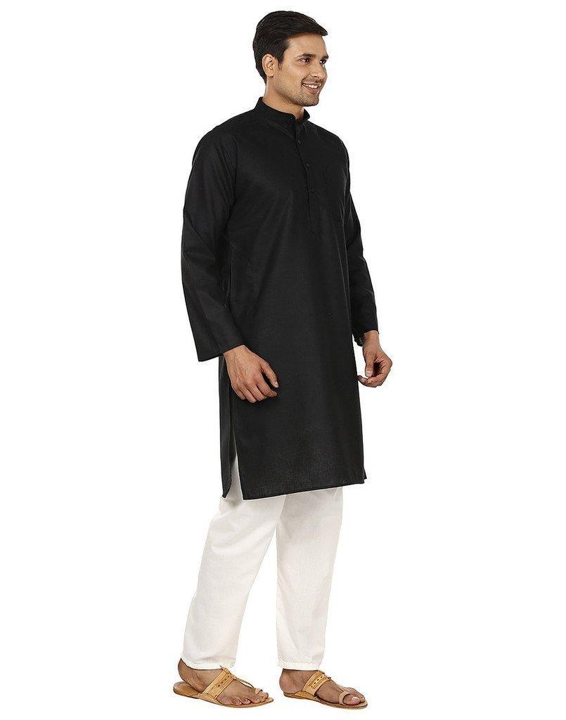 Royal Kurta Men's Superfine Linen Kurta Pyjama Set 42 Black by Royal Kurta (Image #2)