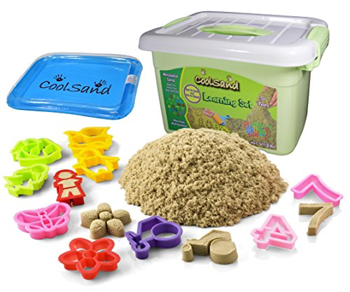 Sandbox Set (CoolSand Deluxe Bucket Kinetic Play Sand With Inflatable Sandbox – Learning Set Edition)