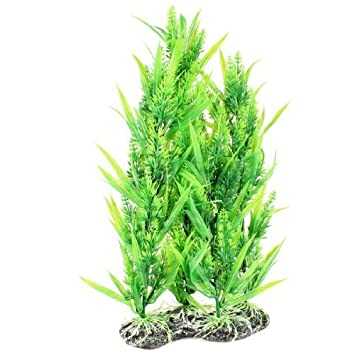 Amazon.com : eDealMax Planta acuario de plástico de simulación acuática ornamento, 13.7 pulgadas, Verde : Pet Supplies