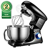 Stand Mixer, Cookmii Electric Food Mixer with 5.5 Quart Stainless Steel Bowl, 660W Tilt-Head Dough Mixer with Dough Hook,Whisk, Flat Beater, Pouring Shield,6-Speed(Black)