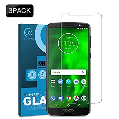 [3-Pack] QIANXIANG Moto G6 Screen Protector,9H Hardness Screen Protector, HD Clear, Bubble Free, Anti-Scratch