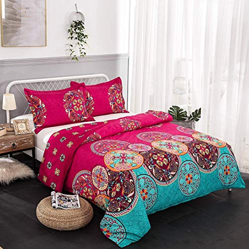 wuy Bedding Set Bohemian Oriental Mandala Bedding Quilt Duvet Cover Set Twin Queen King Size 3pcs 1 Duvet Cover + 2 -