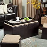 Storage Ottoman | Large Faux Leather Storage Set | Coffee Table with Tray & Side Ottomans | Use Small Ottomans as Footrest or Extra Seating | Excellent for Sectional Sofas and Other Premium Living Room Furniture | 100% Money Back Guaranteed