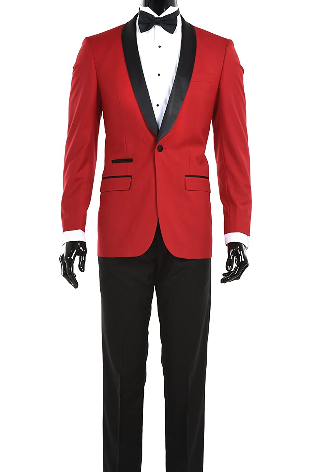 King Formal Wear Modern Luxury Prom Suits (38 Regular, Red with ...