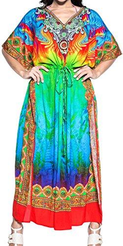 LA LEELA Trajes de baño del Traje de baño del Vestido caftán caftán Camisa de Dormir Aloha rayón Mano Maxi de Las Mujeres Multicolor_v547