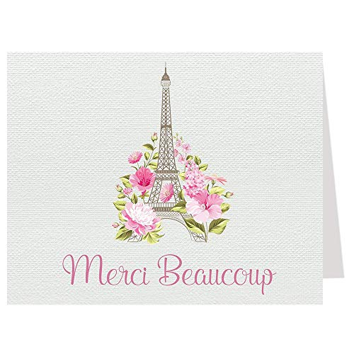 (Eiffel Tower Thank You Cards Paris France Folding Notes Merci Beaucoup Oh La La Theme French Love Story Bridal Shower Birthday Party Business Travel Flowers Pink Baby Wedding Stationary (50 count) )