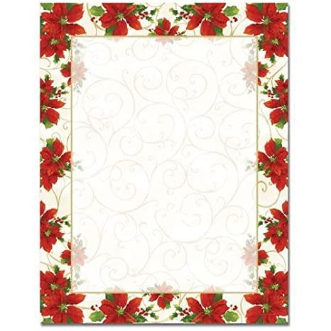 poinsettia and gold swirls christmas border holiday computer printer paper 50 sheets