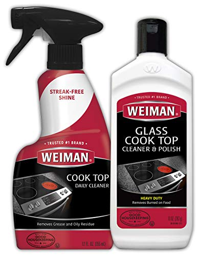 Weiman Ceramic and Glass Cooktop Cleaner - 10 Ounce - Stove Top Daily Cleaner Kit - 12 Ounce - Glass Ceramic Induction Cooktop Cleaning Bundle for Heavy Duty Mess Cleans Burnt-on Food