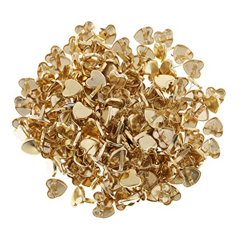 - Prettyia 200 Pieces 9mm Golden Tone Mini Brads Heart Shaped Paper Fasteners Brass Pastel Metal Brads for Scrapbooking Crafts DIY Paper Lenght 10mm
