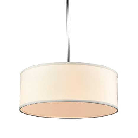 Truelite Drum Pendant Chandeliers White Linen Shade, Foyer Hanging Lights,  3 Lights