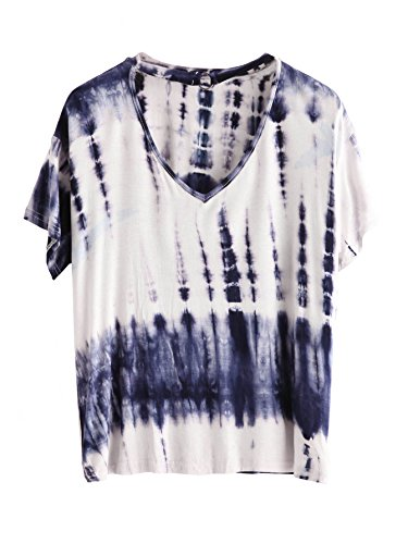 Romwe Women's Short Sleeve Tie Dye Loose T Shirt Basic Tee Tops Navy XL