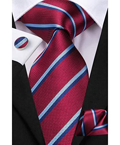 - Dubulle Maroon and Blue Stripe Mens Silk Ties and Hankerchief Cufflinks
