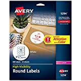 "Avery High Visibility 2.5"" Round Labels with Sure Feed for Laser Printers, 300 White Labels (5294)"