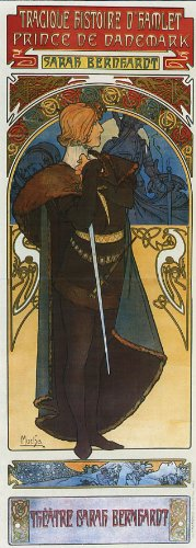 1899 Hamlet Prince of Denmark Theatre Sarah Bernhardt Show by Alphonse Mucha was a Czech Art Nouveau Painter and Decorative Artist 8