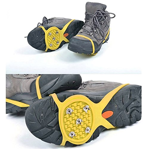 QHGstore 1 Pair 5 Teeth PE Ice Snow Crampons Anti-skid Boot Shoe Covers Spike Cleats Ice Gripper for Outdoor Climbing Hiking Walking Amarillo Amarillo