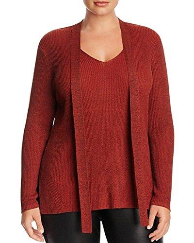 Metallic Ribbed Sweater - Love Scarlett Womens Plus Metallic Ribbed Knit Choker Sweater Orange 1X