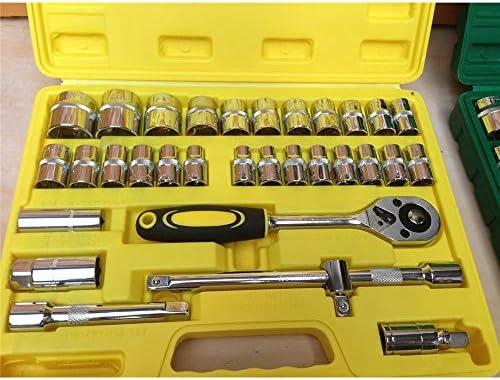 Hexiaoyi コンビネーションワンピースソケットツールセット32ピースセットラチェットレンチツールボックス車の自動車修理ツール (Color : Yellow)
