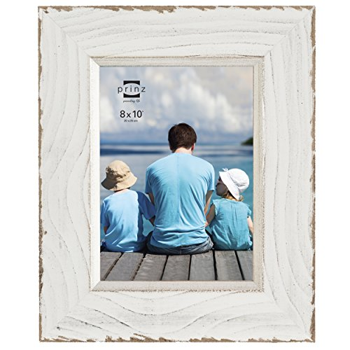 Prinz Clearwater Distressed Wood Frame with Gilded Border, 8 by 10-Inch, White