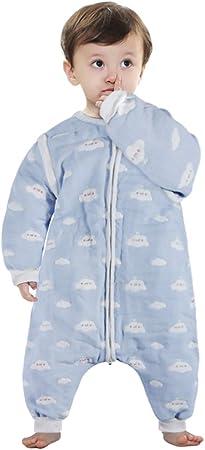 Saco de dormir para niños con pierna dividida y mangas extraíbles: Tamaño estándar para bebés de 1-3