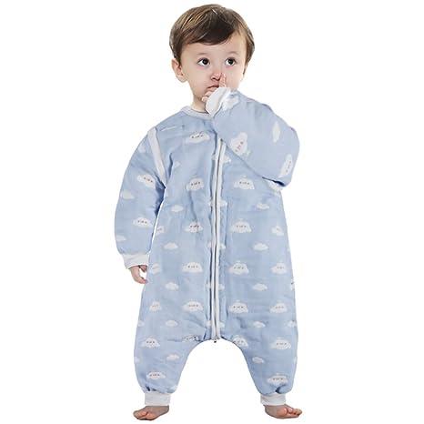 Lictin Saco de dormir para bebés con mangas extraíbles para bebés Niños de 1-3 años de 75 a 95 cm motivo de cielo azul y nubes blancas 100% al algodón ...