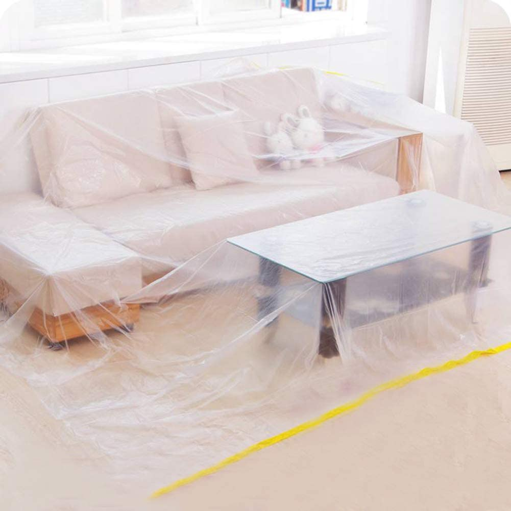 """Ruibo Large Sofa Couch Cover for Furniture Protector Cover/Waterproof Plastic Drop Cloth/Clear Plastic Tarp for Painting,Moving and Long Term Storage, 12 sq.ft,146""""lx106""""w"""
