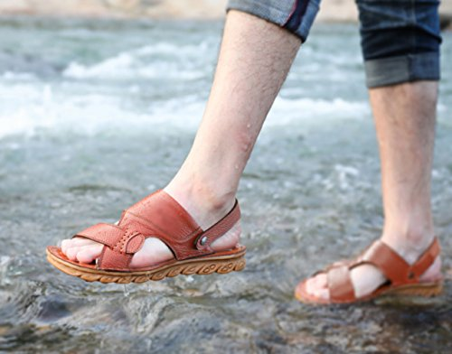 tendine morbidi in Sandali manzo a marrone casual scarpe pelle doppio estate sandali pantofole e WFL pelle antiscivolo uso e da uomo spiaggia di fondo da Giallo in vYqW5d