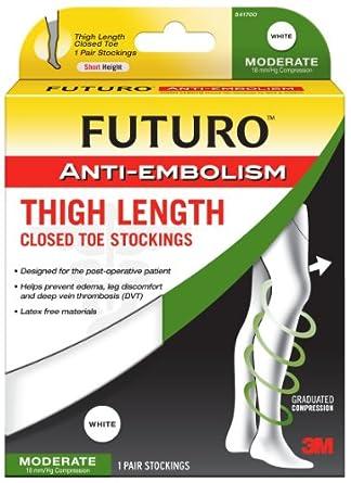 7f01f92f14f3f Amazon.com: Futuro Anti-Embolism Stockings, Large Regular, White, Thigh  Length, Closed Toe, 1 Pair: Industrial & Scientific
