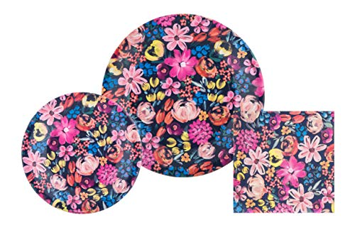 (Navy & Pink Floral Disposable Paper Plates and Party Napkins Bundle - 3 Items: 20 Dinner Plates, 20 Dessert Plates, 50 Large)
