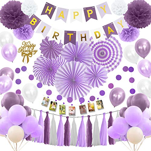 (Musebits Purple and White Birthday Party Decorations Essential 100Pcs, Including Cake Topper, Photo Clips, Paper Fans, Pom Poms Flowers, Birthday Banner, Tissue, Paper Garland,)