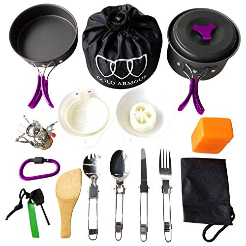 Gold Armour 17Pcs Camping Cookware Mess Kit Backpacking Gear & Hiking Outdoors Bug Out Bag Cooking Equipment Cookset | Lightweight, Compact, Durable Pot Pan Bowls (Purple) (Best Mess Kit For Bug Out Bag)