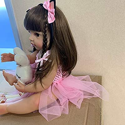 Lullaby Reborn Baby Dolls Silicone Full Body Girl Doll 22 Inch 55 cm Anatomically Correct Newborn Baby Toys with Bunny Toys: Toys & Games